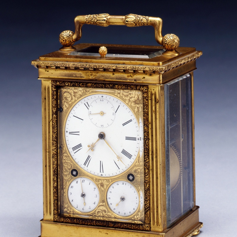 Frédéric-Alexander Courvoisier - An early nineteenth century Swiss gilt brass Grande Sonnerie carriage clock, by Frédéric-Alexander Courvoisier