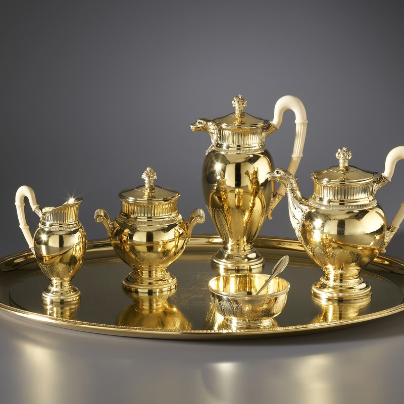 Puiforcat - A late nineteenth century French solid silver-gilt seven-piece tea and coffee service by Puiforcat