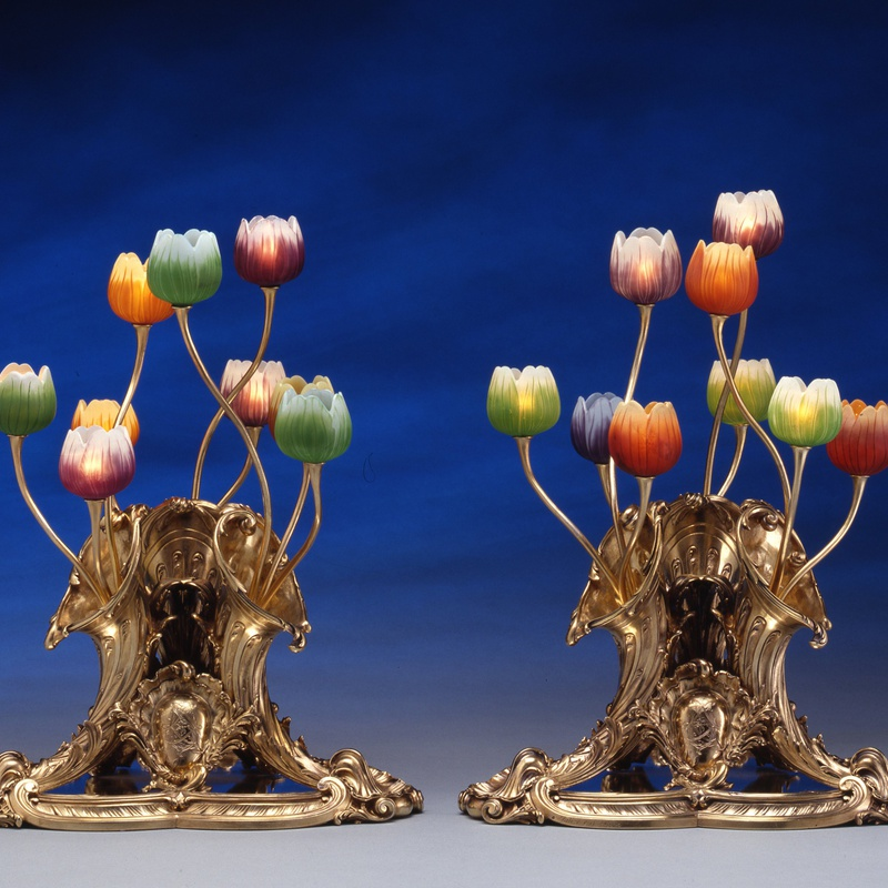 Lucien Falize, Emile Gallé - A pair of table lamps, the silver gilt bases by Lucien Falize, the glass by Emile Gallé