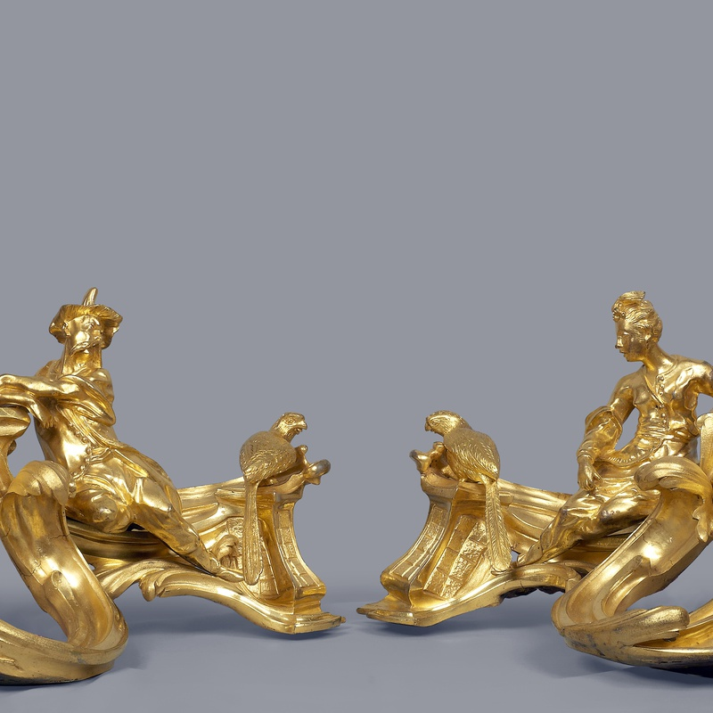Jacques Caffiéri (attributed to) - A pair of Louis XV chenets attributed to Jacques Caffiéri