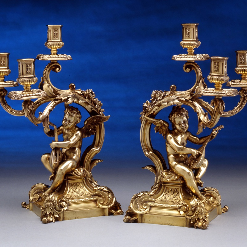 Frederick Boucheron - A pair of figural three light table candelabra, by Frederick Boucheron