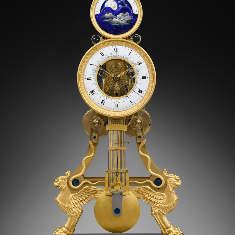 Joseph Coteau (attributed to) - A large Directoire/Empire skeleton clock of month duration, dials attributed to either Joseph Coteau or Etienne Gobin, known as Dubuisson, Paris, date circa 1795-1805