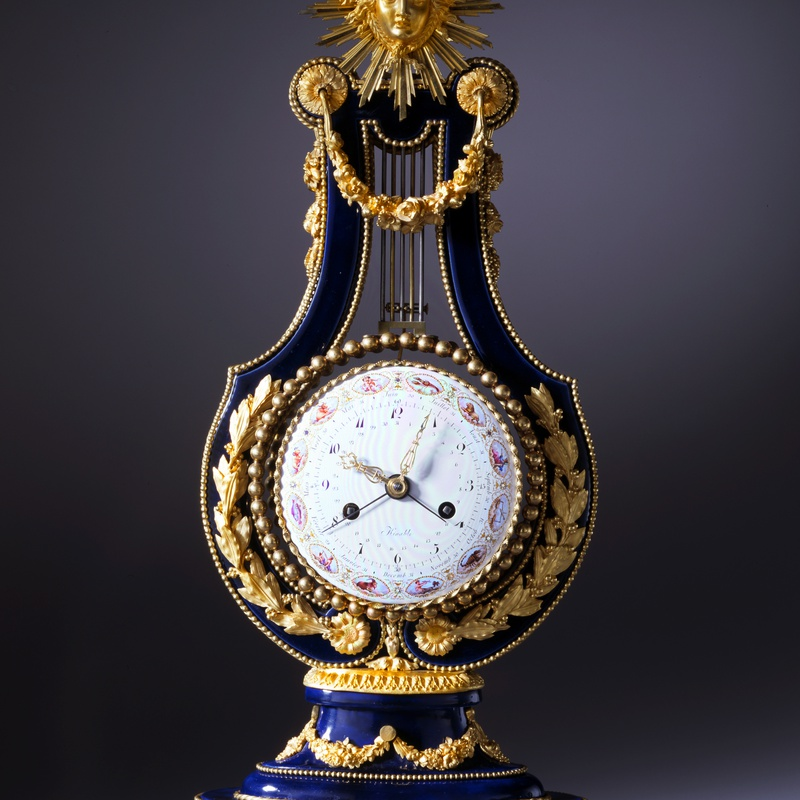 Dieudonné Kinable - A Louis XVI lyre clock of eight day duration, movement by Kinable the enamel work by Dubuisson