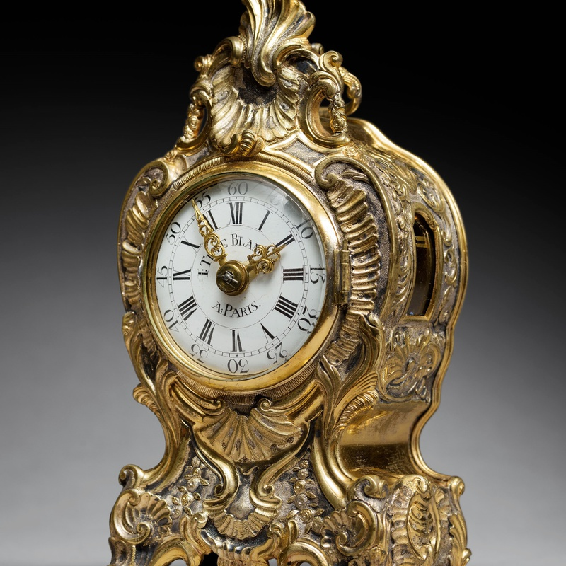 I. Têteblanche - A Louis XV quarter striking and repeating miniature travelling clock of short duration by I. Têteblanche, Paris, date circa 1750