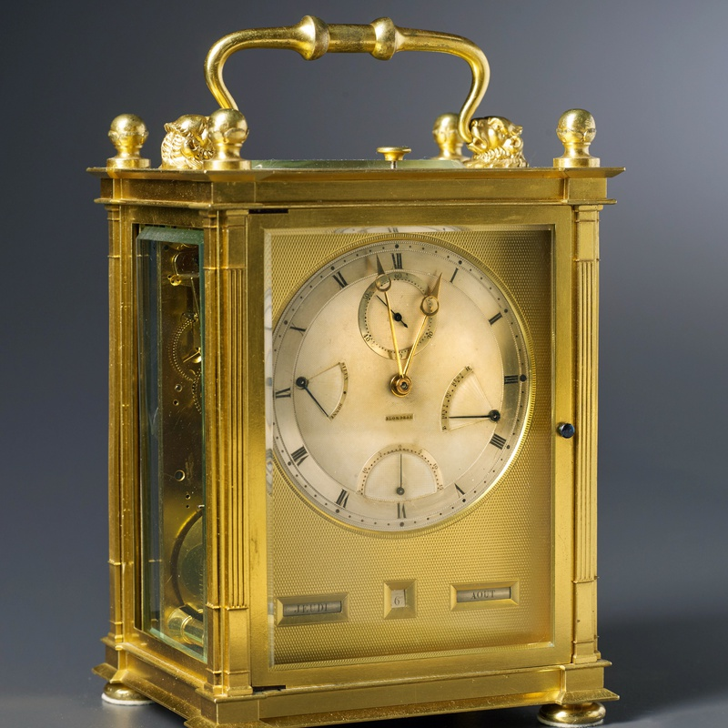 Blondeau - A Restauration grande sonnerie striking carriage clock with push repeat, calendar and equation of eight day duration by Blondeau