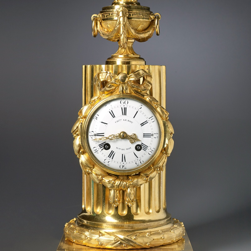 Charles Le Roy - A Louis XVI column clock by Charles Le Roy, bronze case by Jean-Baptiste Osmond