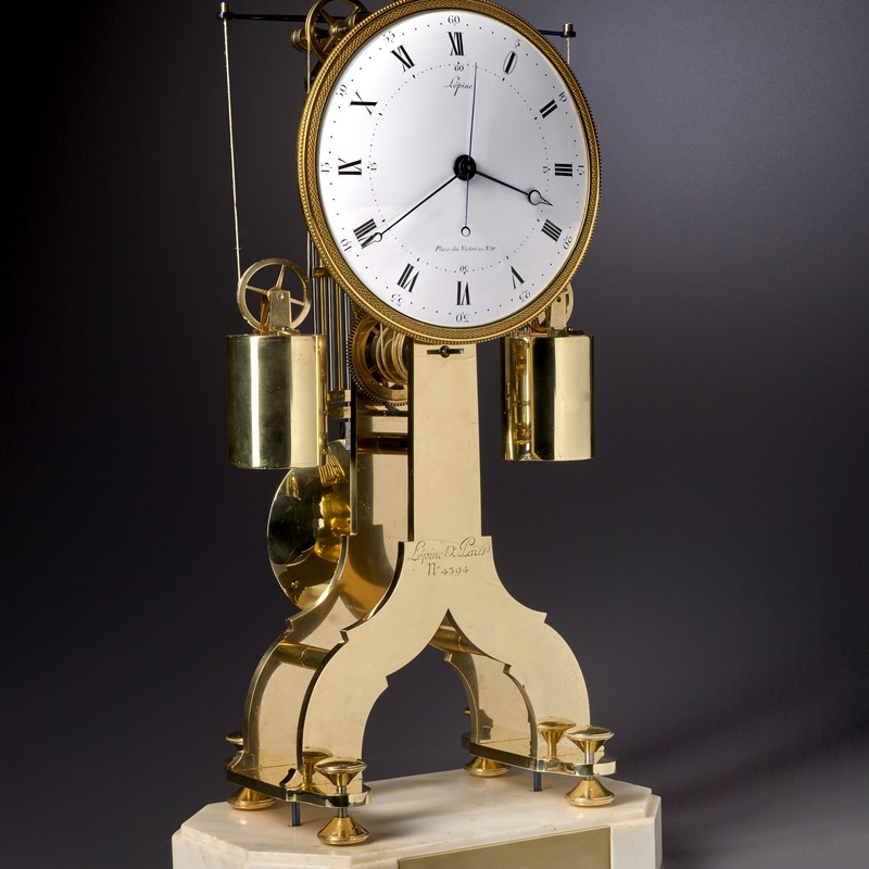 Lépine - A Directoire weight driven skeletonised table regulator clock of fourteen day duration by Lépine