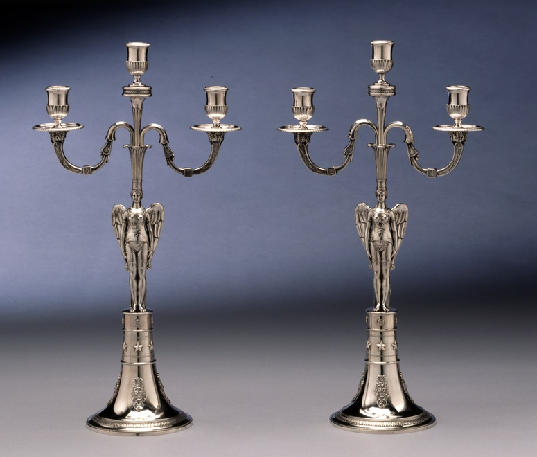 A pair of Empire three light candelabra by Abel-Etienne Giroux