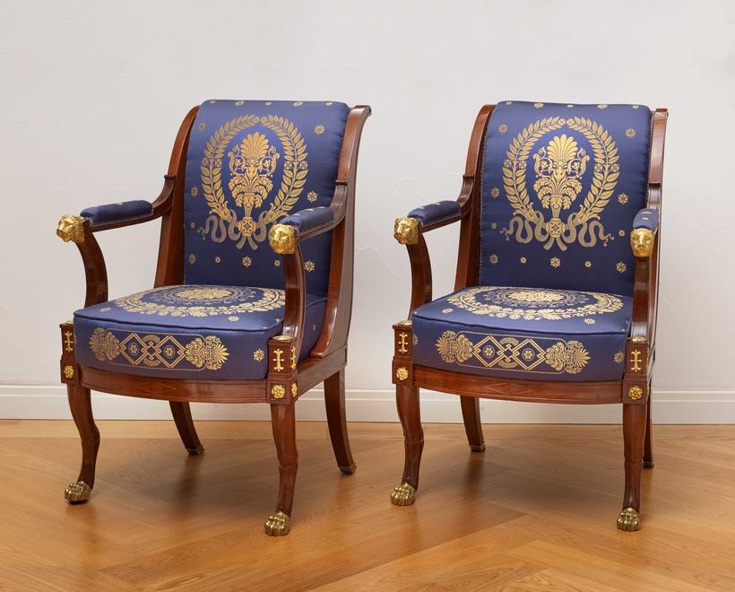 jacob desmalter et cie an empire suite of furniture comprising a pair of fauteuils a pair of. Black Bedroom Furniture Sets. Home Design Ideas