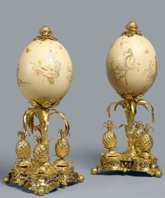 A pair of Louis XV ostrich eggs attributed to Lebel