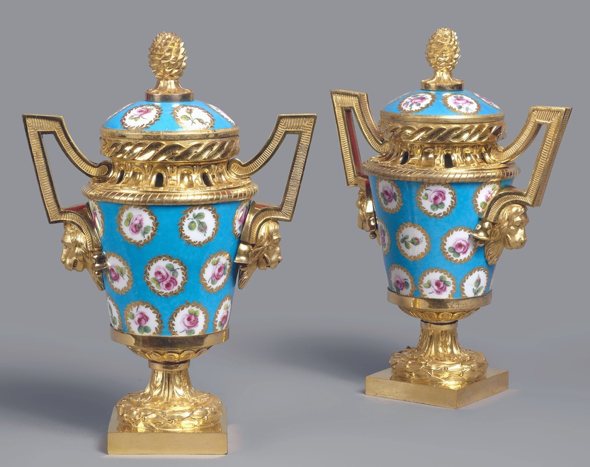 A pair of Louis XVI pot-pourri vases and covers