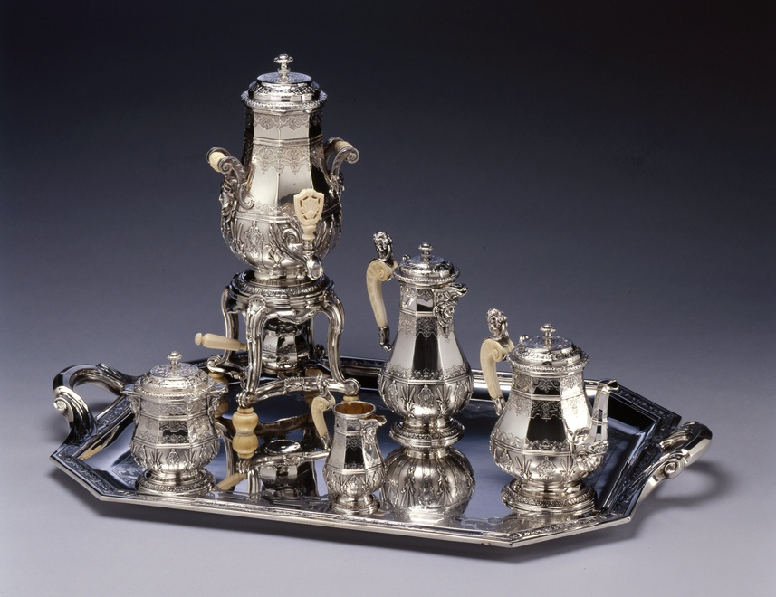 An Eclectic style five piece tea and coffee-service with matching water urn and tray by Edmond Tétard