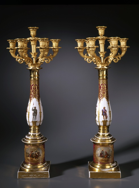 A pair of Restauration seven-light candelabra