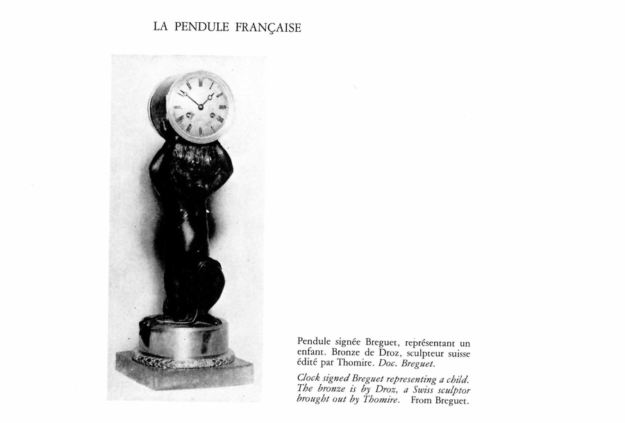 A figural clock of eight day duration of a kneeling putti by Breguet